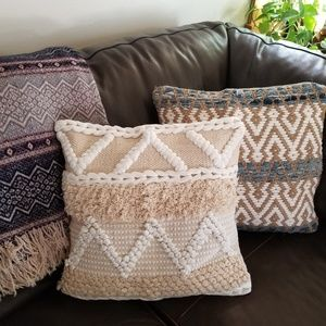 Woven Natural and White Fringe toss Pillow Cover